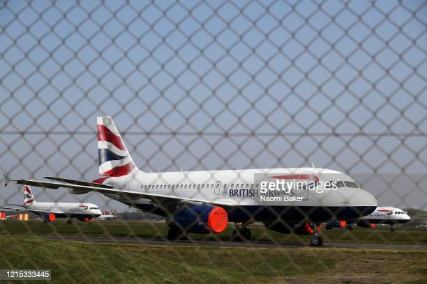 General views of British Airways planes grounded at Bournemouth Airport on March 28 2020 in Bournemouth England The Coronavirus pandemic has spread...