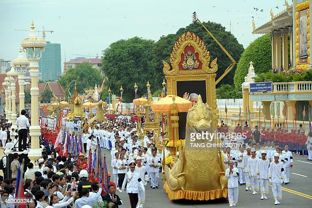 A general views of Cambodian Royal officials marching during a procession of the remains of the late former king Norodom Sihanouk in front of the...