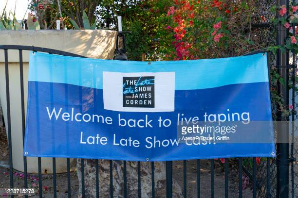 General views of CBS promoting the return of live taping of 'The Late Late Show With James Corden' at CBS Television City after the show had changed...