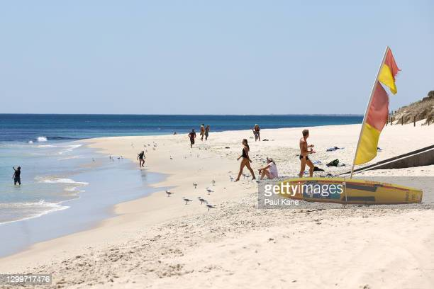 General views of Cottesloe Beach as local residents enjoy a swim on February 01, 2021 in Perth, Australia. Lockdown restrictions are now in place...
