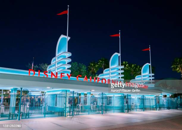 General views of Disney California Adventure Park at the Disneyland Resort, partially reopened for outdoor food and shopping on February 18, 2021 in...
