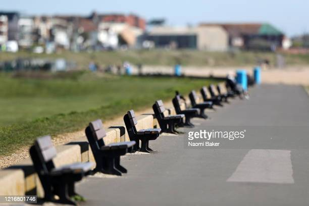 General views of empty benches at Lee-on-the-Solent 'Lee on Solent' beach on April 04, 2020 in Fareham, England. The Coronavirus pandemic has spread...