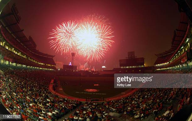 General views of fireworks at Angel Stadium on Sunday, July 4, 2004.