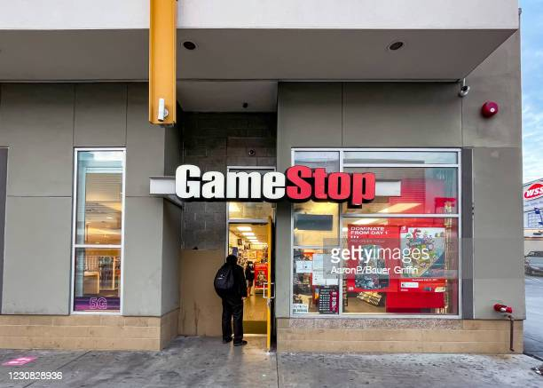 General views of GameStop in Hollywood busy with customers waiting in line to enter the video game retailer on January 27, 2021 in Hollywood,...