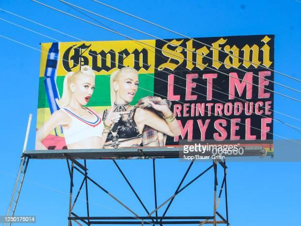 General views of Gwen Stefani billboard on Sunset Boulevard on December 16, 2020 in Los Angeles, California.