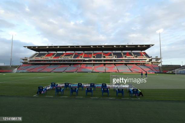 General views of McDonald Jones Stadium during the round 26 A-League match between the Newcastle Jets and Melbourne City at McDonald Jones Stadium on...
