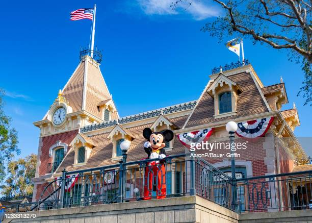 General views of Mickey waving to park-goers at Disneyland, which has recently reopened after being closed to the public for over a year on June 06,...