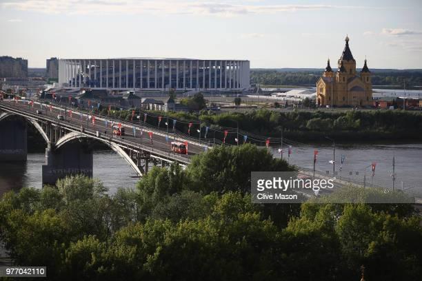 General views of Niznhy Novgorod Stadium ahead of the 2018 FIFA World Cup on June 14, 2018 in Nizhny Novgorod, Russia.