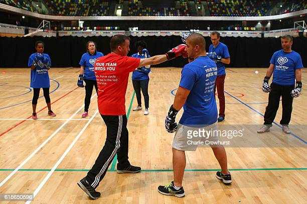 General views of participants taking part and engaging in the Fan Active work shop run by Fulham Football Club along with fitbit at The Copper Box...