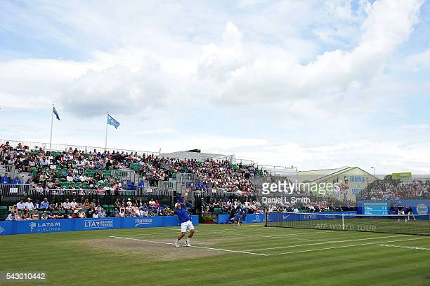 General views of play during the men's singles final between Steve Johnson of USA and Pablo Cuevas of Uruguay during day six of the ATP Aegon Open...