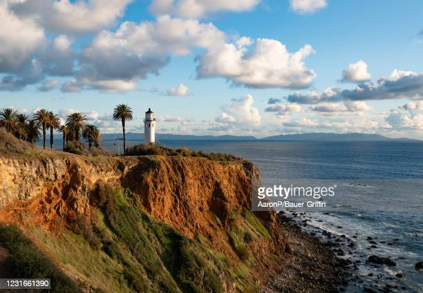 General views of Point Vicente Lighthouse against the backdrop of Santa Catalina Island on March 11, 2021 in Rancho Palos Verdes, California.