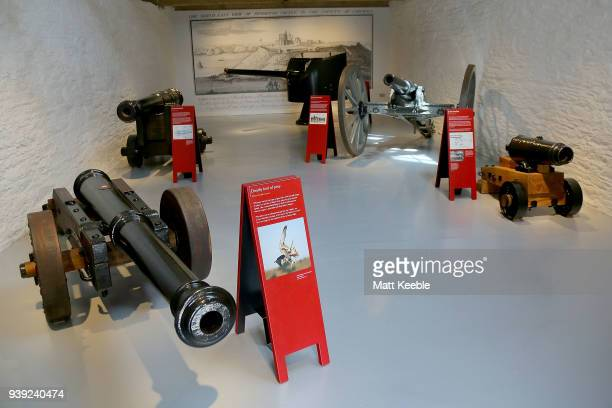 General views of restored cannons on March 28 2018 in Falmouth England English Heritage are warning that many of the historic cannons around the...