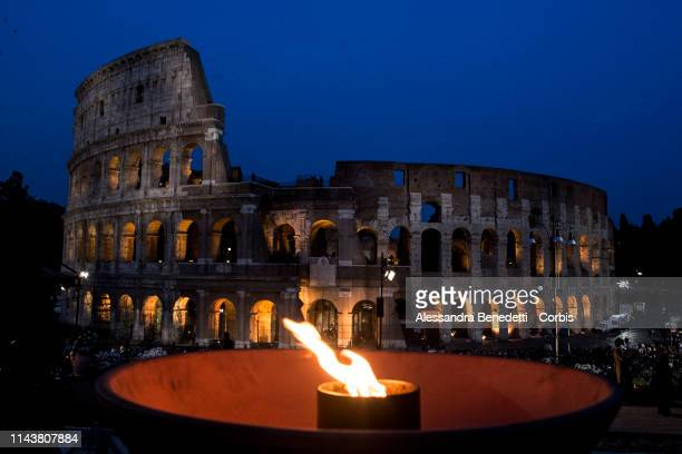 General views of Rome's Colosseum during the Stations of the Cross Via Crucis presided by Pope Francis on April 19 2019 in Rome Italy