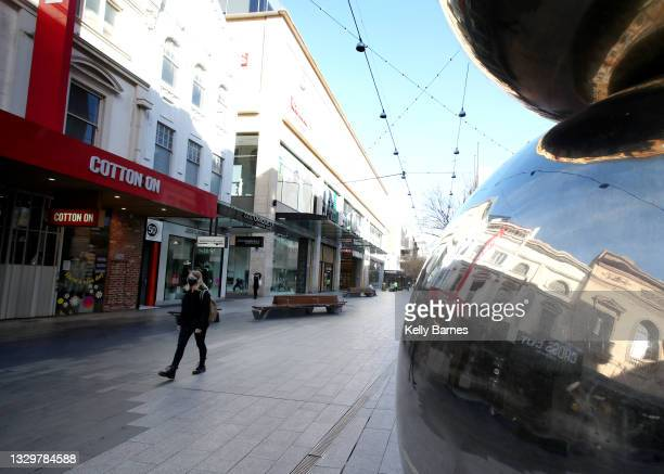 General views of Rundle Mall on July 21, 2021 in Adelaide, Australia. South Australia is in lockdown after a cluster of covid-19 cases were confirmed...