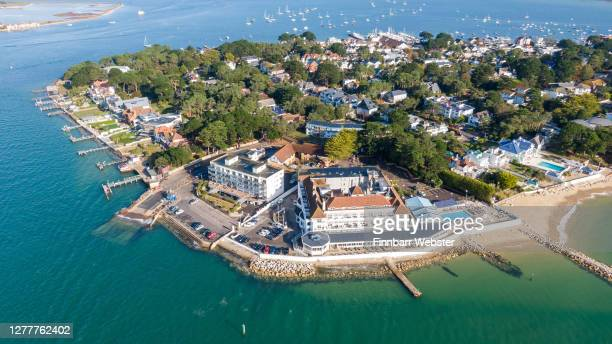 General views of Sandbanks peninsular on October 01, 2020 in Poole, England. Sandbanks in Poole, Dorset is a small peninsular. It is known for its...
