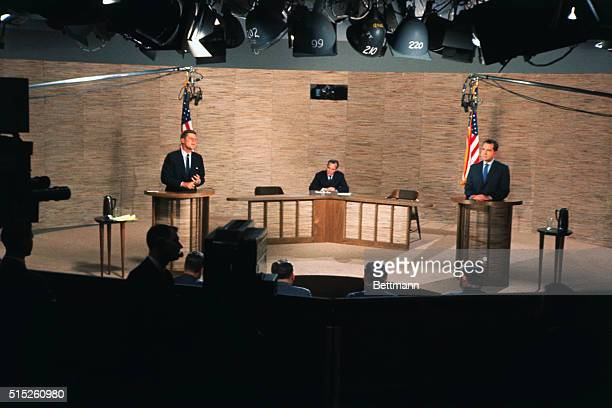 General views of Senator John F. Kennedy and Vice-President Richard Nixon during the intense television debate. This was the second of two debates.