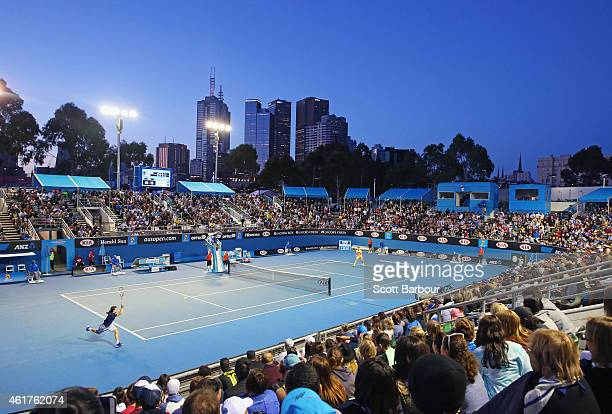 A general views of Show Court 3 as Ernests Gulbis of Latvia returns a serve in his first round match against Thanasi Kokkinakis of Australia during...