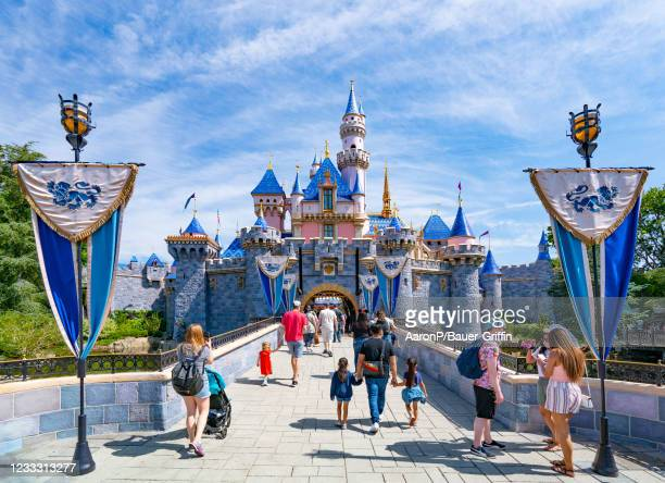 General views of Sleeping Beauty Castle at Disneyland, which has recently reopened after being closed to the public for over a year on June 06, 2021...
