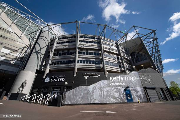 General views of St James' Park, home of Newcastle United, with the statue of former manager Bobby Robson on August 20, 2020 in Newcastle, United...