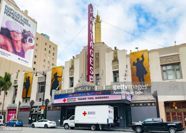 General views of the American Red Cross set up at the Pantages Theatre on May 17, 2021 in Hollywood, California.