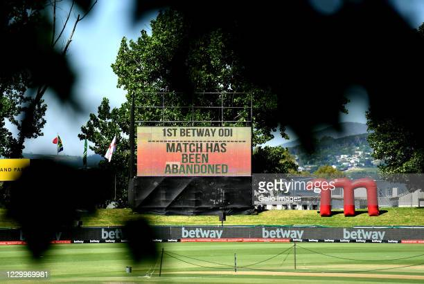 General views of the big screen during the 1st Betway ODI presented by Momentum match between South Africa and England at Eurolux Boland Park on...