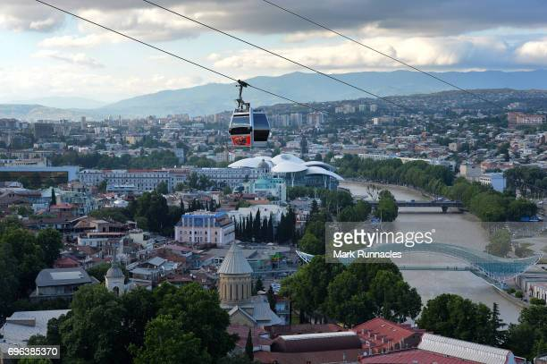 General views of the city of Tbilisi from the hillside near the Narikala Fortress on June 15 2017 in Tbilisi Georgia The 2017 World Rugby Under 20...