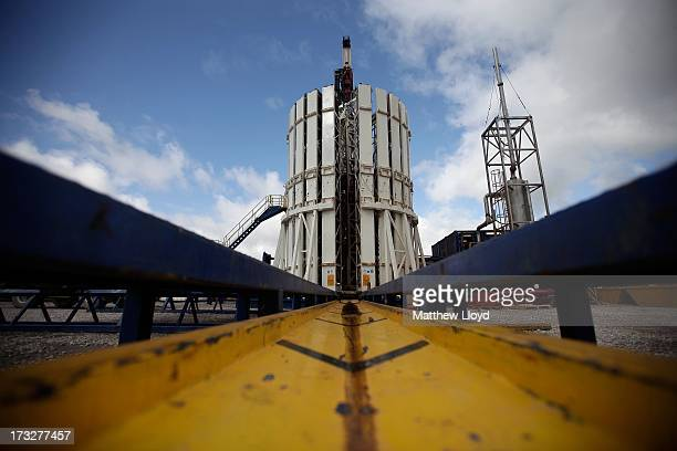 General views of the Cuadrilla shale fracking facility on October 7 2012 in Preston Lancashire The controversial method of extracting gas by pumping...