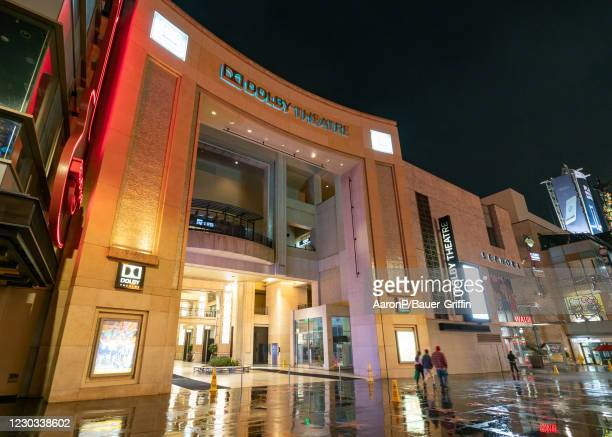 General views of the Dolby Theatre on Hollywood Blvd during the first rain of season on December 28, 2020 in Hollywood, California.