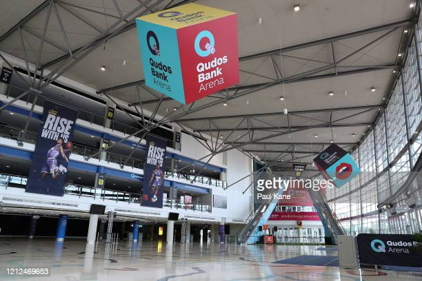 General views of the empty foyer to Qudos Bank Arena are seen before game three of the NBL Grand Final series between the Sydney Kings and Perth...