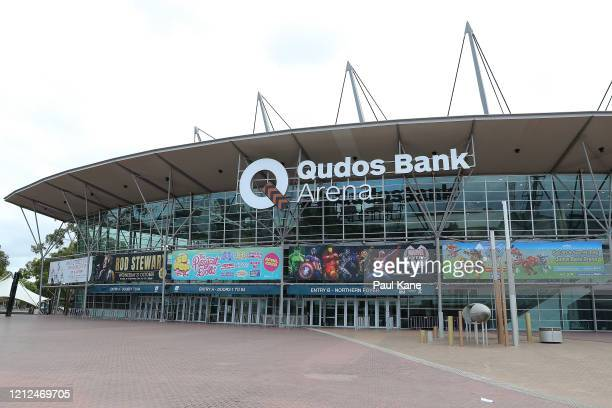 General views of the forecourt area of Qudos Bank Arena are seen before game three of the NBL Grand Final series between the Sydney Kings and Perth...