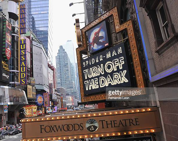 General views of the Foxwoods Theatre' marquee before SpiderMan Turn Off The Dark Snags A Record 100 Tonys On Tony Sunday on June 10 2012 in New York...