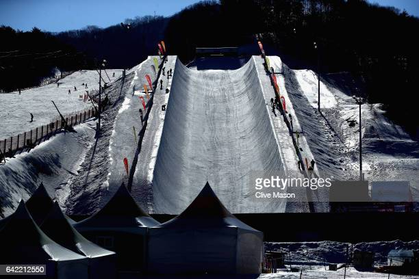 General views of the halfpipe during the FIS Freestyle World Cup Snowboard Halfpipe Qualification at Bokwang Snow Park on February 17 2017 in...