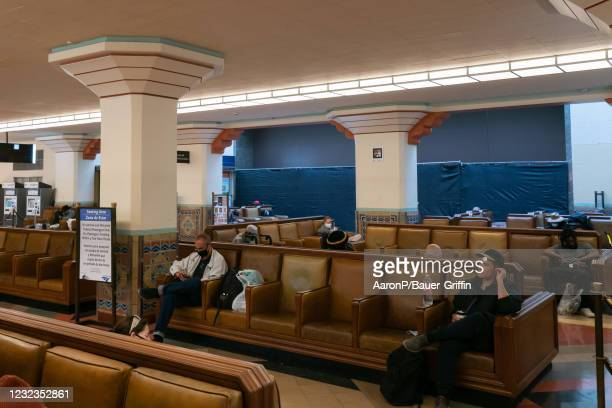 General views of the Historic Ticketing Hall and the Grand Waiting Room sealed off for the 93rd Annual Academy Awards on April 16, 2021 in Los...