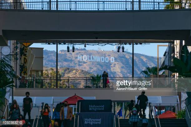 General views of the Hollywood Sign seen from the Hollywood & Highland shopping and entertainment complex, which has been the home of the annual...