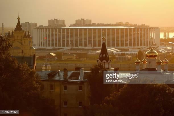 General views of the Nizhny Novgorod Stadium ahead of the 2018 FIFA World Cup on June 13 2018 in Nizhny Novgorod Russia