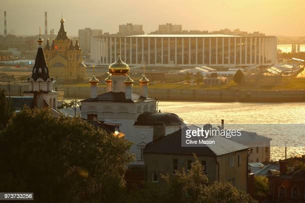 General views of the Nizhny Novgorod Stadium ahead of the 2018 FIFA World Cup on June 13, 2018 in Nizhny Novgorod, Russia.