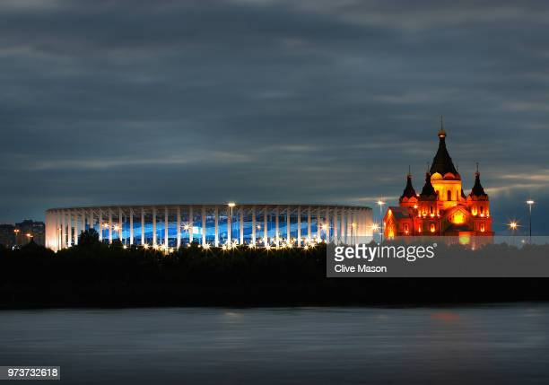 General views of the Nizhny Novgorod Stadium with the Alexander Nevsky Cathedral ahead of the 2018 FIFA World Cup on June 13 2018 in Nizhny Novgorod...