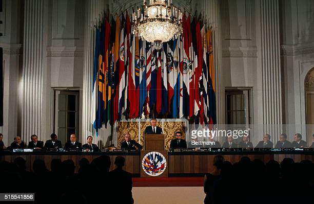 General views of the Organization of American States meeting as Dr Galo Plaza Lasso of Ecuador speaks He is the new OAS Chief