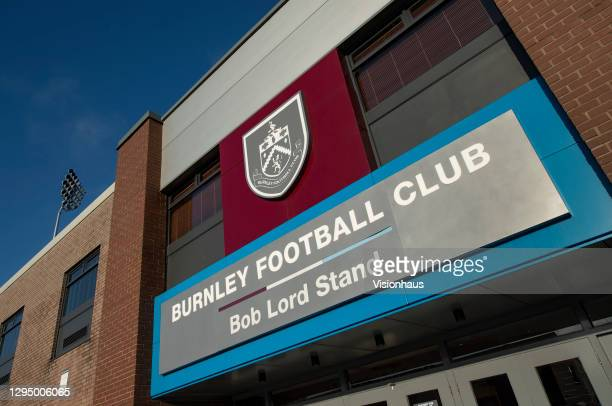 General views of the outside of the Bob Lord Stand at Turf Moor, home of Burnley FC on January 6, 2021 in Burnley, United Kingdom.