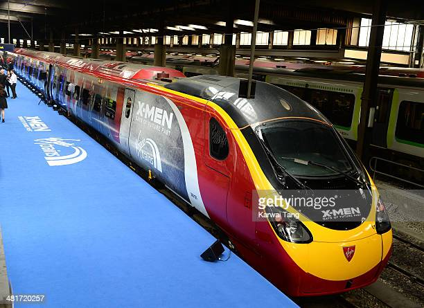 General views of the photocall to unveil the Virgin trains wrapped 'XMen Days of Future Past' train at Euston Station on March 31 2014 in London...