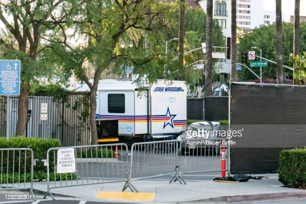 General views of the setup at Union Station for the 93rd Annual Academy Awards, which has encompassed all of the outdoor courtyards as well as the...