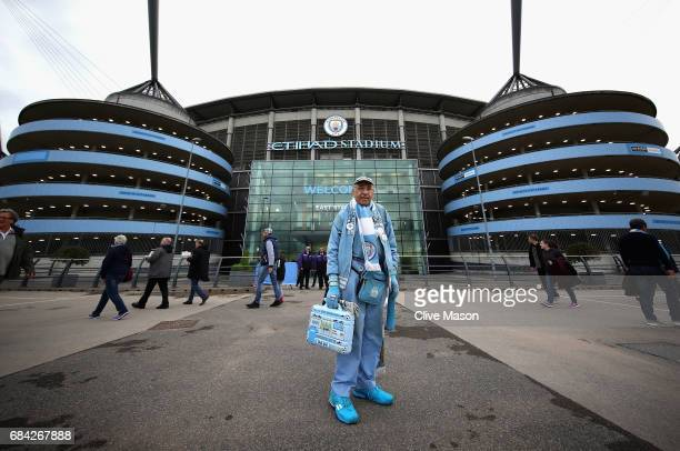 General views of the stadium ahead of the Premier League match between Manchester City and West Bromwich Albion at Etihad Stadium on May 16 2017 in...