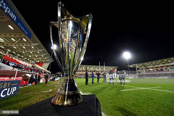 General views of the stadium and the Champions Cup trophy before the European Champions Cup Pool 1 rugby game between Ulster and Toulouse at Kingspan...