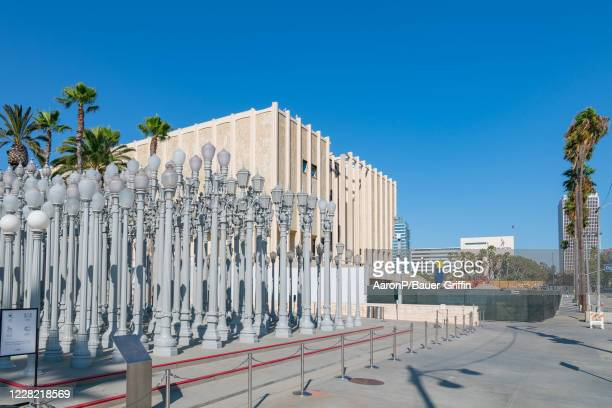 General Views of the Urban Light art installation at LACMA and the partially demolished LACMA museum building on August 26, 2020 in Los Angeles,...