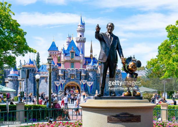General views of the Walt Disney 'Partners' statue at Disneyland, which has recently reopened after being closed to the public for over a year on...