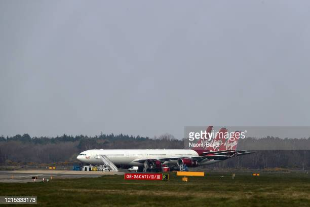 General views of Virgin Atlantic planes grounded at Bournemouth Airport on March 28, 2020 in Bournemouth, England. The Coronavirus pandemic has...