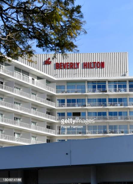 General views outside of at The Beverly Hilton Hotel During 2021 Golden Globe Awards Weekend at The Beverly Hilton on February 28, 2021 in Beverly...
