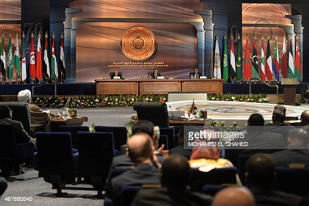 A general views shows Egyptian President Abdel Fattah alSisi attending the Arab League summit in Egypt's Red Sea resort of Sharm ElSheikh on March 28...