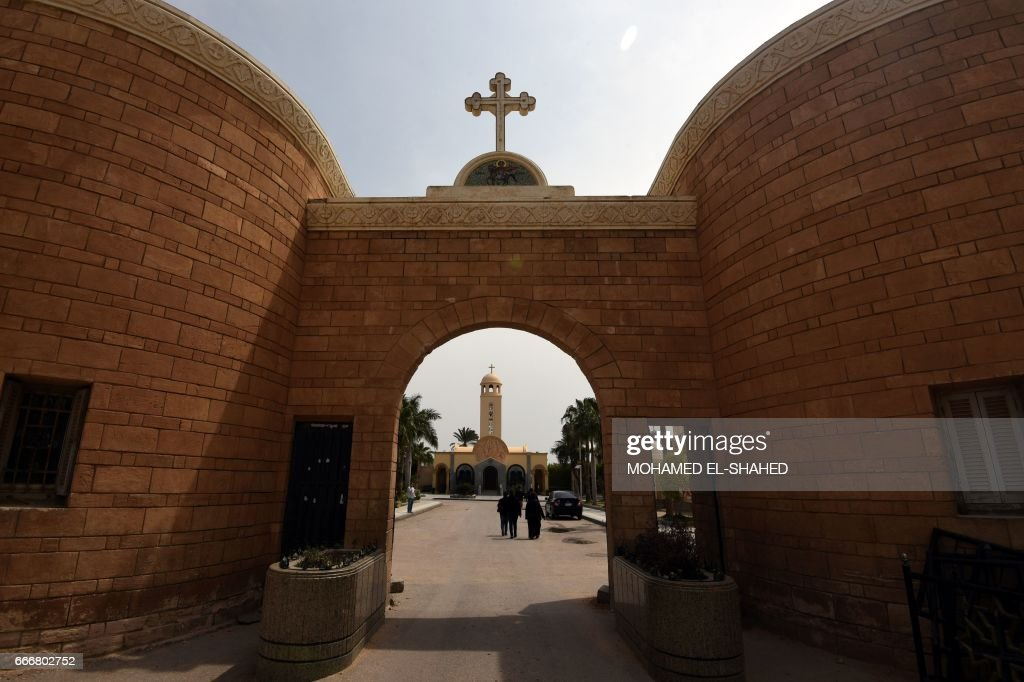 A general views shows the Monastery of Marmina in the city of Borg El-Arab, east of Alexandria on April 10, 2017, as mourners attend the funeral of victims of the blast at the Coptic Christian Saint Mark's church in th northern port city the previous day. Egypt prepared to impose a state of emergency after jihadist bombings killed dozens at two churches in the deadliest attacks in recent memory on the country's Coptic Christian minority. /