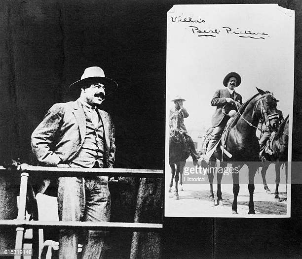 General Villa stands before a poster of himself